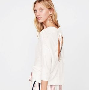 Express 3/4 Sleeve Open Back Pullover Sweater